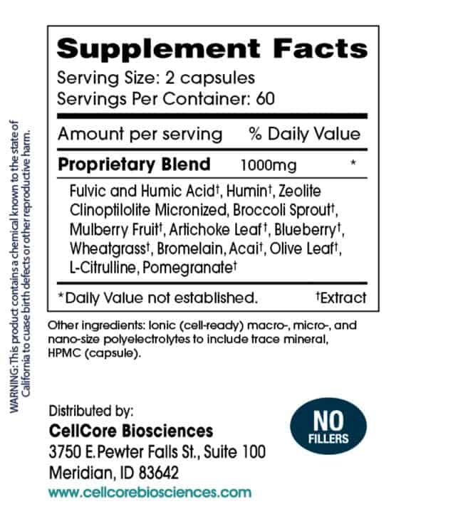 Cell Core VirRadChem binder supplement facts
