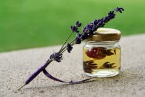 herbal medicine jar and flower